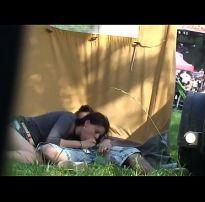 Outdoor festival amateur couple have sex secret cam